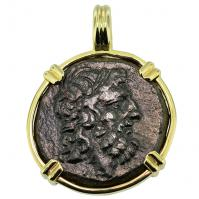 Greek 120-70 BC, Zeus and Eagle bronze coin in 14k gold pendant.