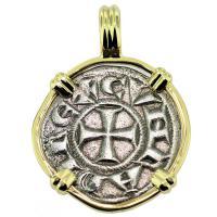 SOLD #9523 Crusader Cross Denaro Pendant; Please Explore Our Medieval Pendants For Similar Items.