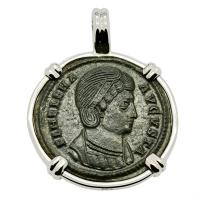 Roman Empire AD 326–327, Saint Helena follis in 14k white gold pendant.