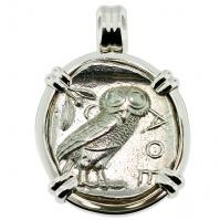 #9541 Owl and Athena Tetradrachm Pendant