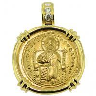 SOLD Jesus Christ Nomisma Pendant; Please Explore Our Gold Coin Pendants For Similar Items.