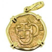 King Philip III Two Escudos Doubloon Pendant