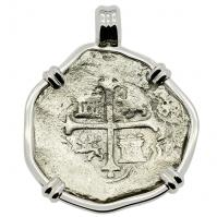 Spanish 4 reales 1607-1617, in 14k white gold pendant, 1622 Portuguese Shipwreck, Mozambique, Africa.