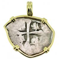#9558 Spanish 1715 Fleet Shipwreck 1 Real Pendant