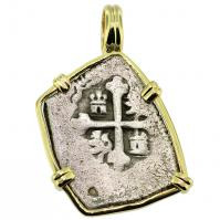 SOLD #9559 Spanish 1715 Fleet Shipwreck 1 Real Pendant; Please Explore our Spanish Treasure Pendants for Similar Items