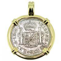 SOLD #9560 El Cazador Shipwreck 1 Real Pendant; Please Explore Our Spanish Shipwreck Pendants For Similar Items.