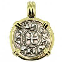 #9570 Crusader Cross Denaro Pendant