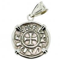 #9572 Crusader Cross Denaro Pendant