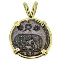 #9576 She Wolf & Roma Nummus Pendant