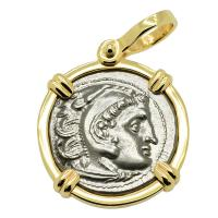 Greek 323-310 BC, Alexander the Great drachm in 14k gold pendant.