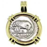 Roman Republic 81 BC, Elephant and Pietas Denarius in 14k gold pendant.