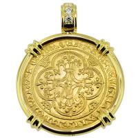 SOLD #9601 French King Charles VII Ecu Pendant; Please Explore Our Gold Coin Pendants For Similar Items.