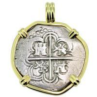 SOLD King Philip II Spanish 2 Reales Pendant; Please Explore Our Spanish Treasure Pendants For Similar Items.
