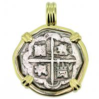 SOLD King Philip IV Spanish 2 Reales Pendant; Please Explore Our Spanish Treasure Pendants For Similar Items.