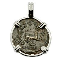 Roman Antioch AD 337-340, Constantine the Great follis in 14k white gold pendant.