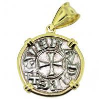 #9610 Crusader Cross Denaro Pendant