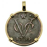SOLD Dutch VOC Duit Pendant; Please Explore Our Colonial European Pendants For Similar Items.