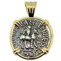 King Azes II and Athena Drachm Pendant