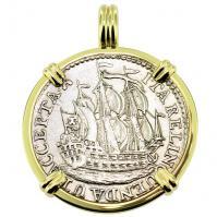 SOLD Dutch 6 Stuivers Pendant; Please Explore Our Colonial European Pendants For Similar Items.