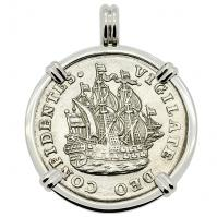 Dutch 6 stuivers ship shilling, dated 1754 in 14k white gold pendant.
