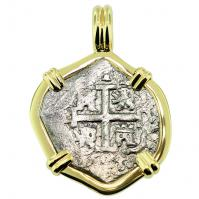 King Charles II Spanish 1 Real Pendant
