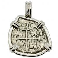 SOLD King Charles II Spanish 1 Real Pendant; ; Please Explore Our Spanish Treasure Pendants For Similar Items.