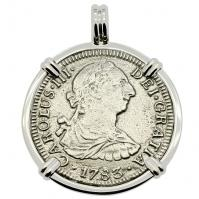 SOLD El Cazador Shipwreck 2 Reales Pendant; Please Explore Our Spanish Treasure Pendants For Similar Items.