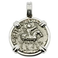 Greek 35-12 BC, King Azes II on horseback and Zeus drachm in 14k white gold pendant.