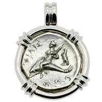 Greek - Italy 332-302 BC, Taras riding Dolphin and Horseman nomos in 14k white gold pendant.