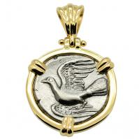 Greek 330-280 BC, Dove and Chimaera triobol in 14k gold pendant.