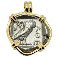 Owl and Athena Tetradrachm Pendant