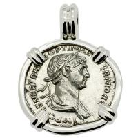 Roman Empire AD 115 - 116, Emperor Trajan and Pax denarius in 14k white gold pendant.