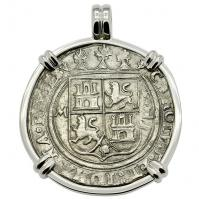 Spanish 4 reales 1547-1550 in 14k white gold pendant, 1550 shipwreck Northern Caribbean Sea.