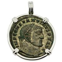 Roman Empire AD 315–316, Constantine and Jupiter follis in 14k white gold pendant.