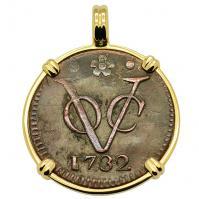 SOLD Dutch VOC Duit Pendant; Please Explore Our Colonial European Pendants For Similar Items.