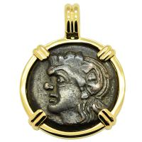 Greek 310 - 304 BC, Pan and Lion bronze coin in 14k gold pendant.