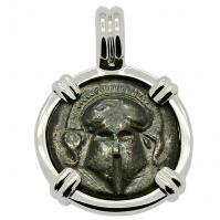 SOLD Greek Helmet Bronze Coin Pendant; Please Explore Our Greek Pendants For Similar Items.