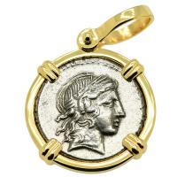 Roman Republic 82 BC, Apollo and Satyr Marsyas denarius in 14k gold pendant.