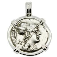 Roman Republic 137 BC, Mars and Warriors Oath Taking Scene denarius in 14k white gold pendant.