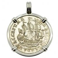 Dutch 6 stuivers ship shilling, dated 1792 in 14k white gold pendant.