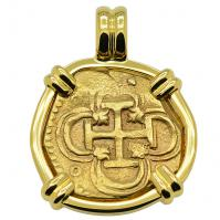 SOLD King Philip II Two Escudos Doubloon Pendant; Please Explore Our Spanish Treasure Pendants For Similar Items.