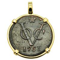 Dutch East Indies Company VOC duit dated 1751 in 14k gold pendant.