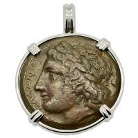 Greek Syracuse 287-278 BC, Zeus and Eagle bronze coin in 14k white gold pendant.