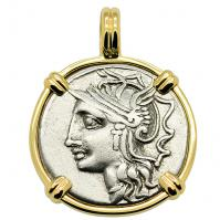 SOLD Roma and Saturn Denarius Pendant; Please Explore Our Roman Pendants For Similar Items.