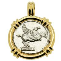 Roman Republic 90 BC, Pegasus and Mutnius Titinus denarius in 14k gold pendant.