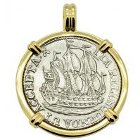 Dutch 6 stuivers ship shilling, dated 1774 in 14k gold pendant.