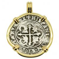 SOLD King Philip II Spanish 1 Real Pendant; Please Explore Our Spanish Treasure Pendants For Similar Items.