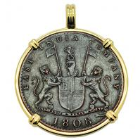 SOLD Admiral Gardner Shipwreck Coin Pendant; Please Explore Our Colonial European Pendants For Similar Items.