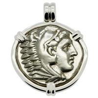 Greek 328-320 BC, Alexander the Great tetradrachm in 14k white gold pendant.