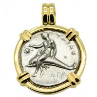 Greek - Italy 302-280 BC, Taras riding Dolphin and Horseman nomos in 14k gold pendant.